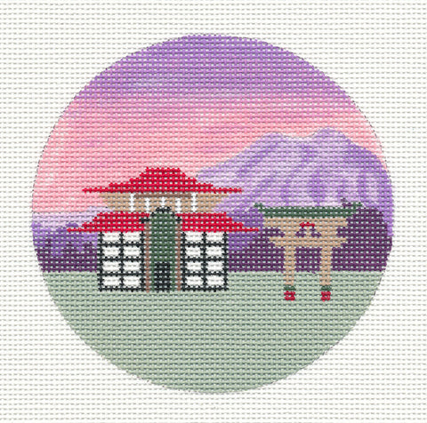 "Round~4"" Japan~ with Temple handpainted Needlepoint Canvas Ornament~by Painted Pony  **MAY NEED TO BE SPECIAL ORDERED**"
