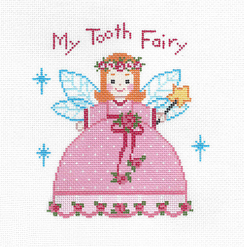 Tooth Fairy Canvas ~ TOOTH FAIRY Pillow Princess Girl's handpainted Needlepoint Canvas on 18 Mesh by LEE