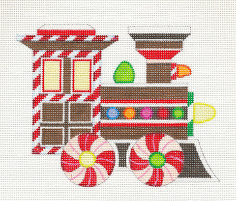 Christmas~ Gingerbread Train Engine w/ Stitch Guide handpainted Needlepoint Canvas by Raymond Crawford