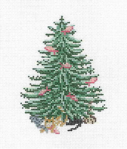Canvas~ Christmas Cats and Pink Salmon Fish Tree handpainted Needlepoint Canvas~by Needle Crossings