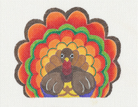 Thanksgiving~ Larry the Turkey w/ Stitch Guide handpainted Needlepoint Canvas by Raymond Crawford