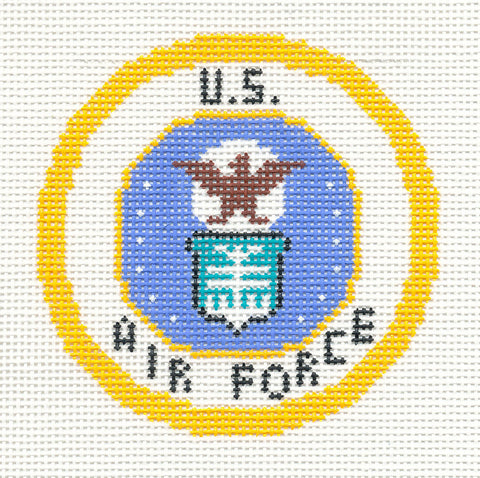 "Military~LEE U.S. AIR FORCE Military Emblem handpainted HP 3"" Rd. Needlepoint Canvas"