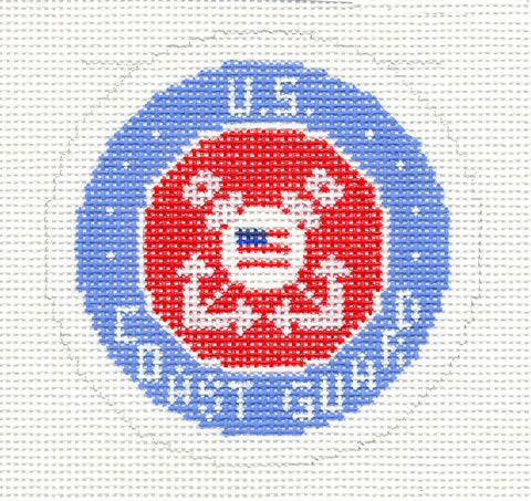 "Military~LEE U.S. COAST GUARD Military Emblem handpainted HP Needlepoint Canvas 3"" Rd."