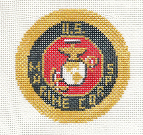 "Military~LEE U.S. Marine Corps Military Emblem handpainted Needlepoint Canvas 3"" Rd."
