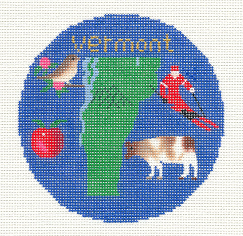 "Round~4.25"" Vermont handpainted Needlepoint Canvas~by Silver Needle **RETIRED**"