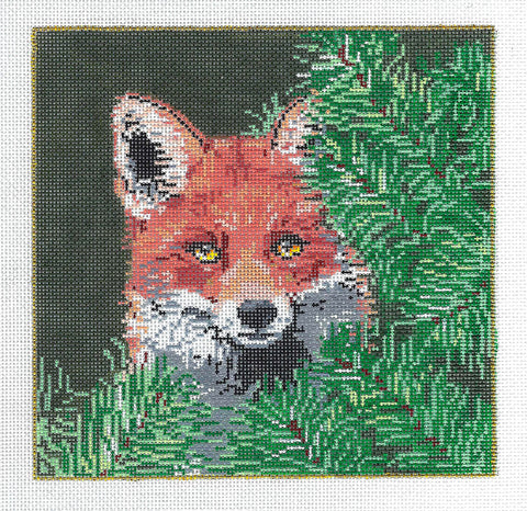 Canvas-VIXEN Red Fox in Pines Needlepoint Canvas handpainted by Sandra Gilmore