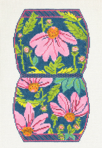 Coin Purse~Pink Echinacea handpainted Needlepoint Canvas~by Whimsy and Grace