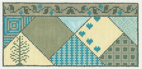 "Insert~6"" Green Blue & Tan Geometric Insert/Checkbook Cover handpainted Needlepoint Canvas~by Whimsy and Grace"