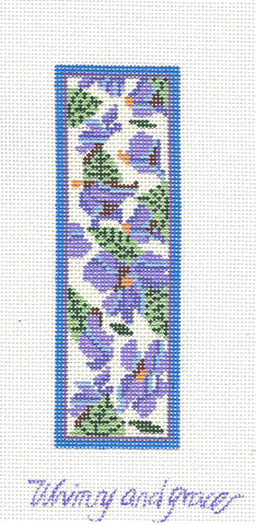 "Bookmark ~ 5.5"" Violets on Ivory handpainted Needlepoint Canvas by Whimsy and Grace"