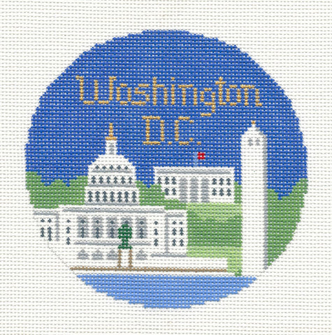 "Round~4.25"" Washington DC Ornament handpainted Needlepoint Canvas~by Silver Needle"