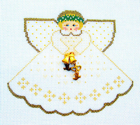Angel- Wedding Angel & Charms hand painted Needlepoint Ornament~by Painted Pony **MAY NEED TO BE SPECIAL ORDERED**
