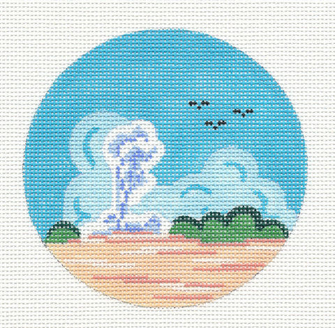 "Round~4"" Yellowstone ""Old Faithful"" handpainted Needlepoint Canvas Ornament~by Painted Pony  **MAY NEED TO BE SPECIAL ORDERED**"