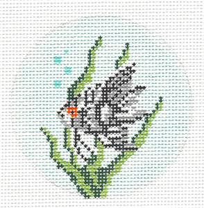 "Round~3"" Angel Fish Ornament handpainted Needlepoint Canvas~by Needle Crossings"