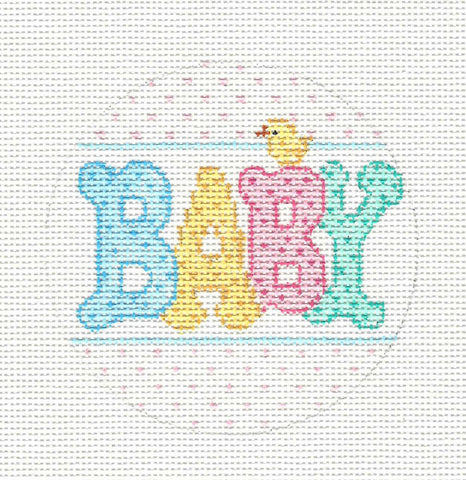 "Round~Baby 3.5"" Round handpainted Needlepoint Canvas~ by Amanda Lawford"