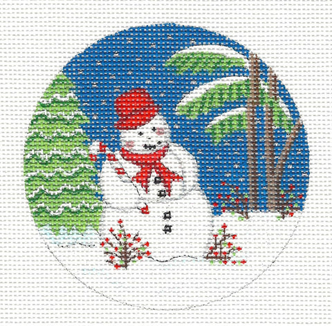 Round~Snowman with Palm Tree Ornament handpainted Needlepoint Canvas~ by Alexa