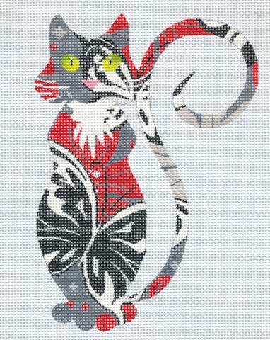 Canvas Cat~Sophisticated Butterfly Cat handpainted Needlepoint Canvas or Insert by LEE
