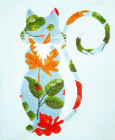 Canvas Cat~Sophisticated Springtime Cat handpainted Needlepoint Canvas Ornament Insert LEE