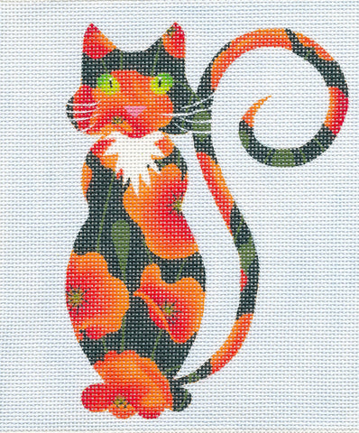 Canvas Cat~Orange Poppy Cat handpainted Needlepoint Canvas Insert or Ornament by LEE