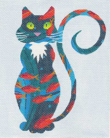 Canvas Cat~Whimsical Goldfish Cat handpainted Needlepoint Canvas or Ornament by LEE
