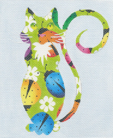 Canvas Cat~Ladybugs Cat handpainted Needlepoint Canvas Insert or Ornament By LEE