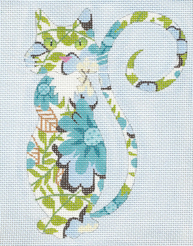 Canvas Cat~Sophisticated Floral Cat handpainted Needlepoint Canvas Ornament or Insert LEE