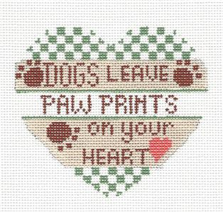 Heart Dogs Leave Paw Prints on Heart in Green handpainted Needlepoint Canvas CH Designs -Danji **May need to be SPECIAL ORDERED **
