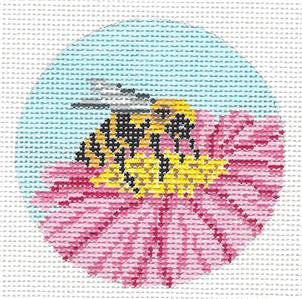 "Round~3""BUSY BEE on a Flower handpainted Needlepoint Canvas Needle Crossings"