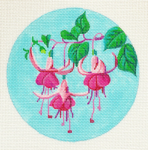 "Round~5"" Bleeding Hearts handpainted Needlepoint Canvas~by Barbara Fox"