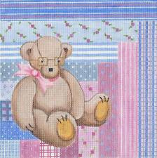 Canvas~BABY's Teddy Bear Patchwork Sampler handpainted Needlepoint Canvas by Patti Mann