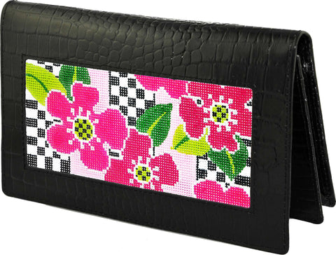 Accessory~Black Alligator texture Leather Wallet with Snap for HP Needlepoint Canvas by Lee