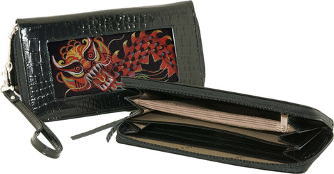 Accessory~Zip-Top Black Alligator Texture Wallet w/Strap for HP Needlepoint Canvas