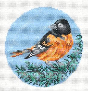 "Round~4"" Baltimore Oriole Bird Ornament handpainted Needlepoint Canvas~by Needle Crossings"