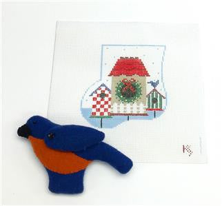 Stocking~Bluebird and Houses SET Ornament & Bird HP Needlepoint Canvas~by Kathy Schenkel