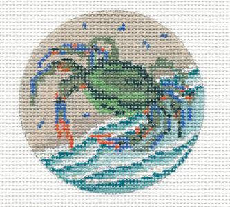"Round~3"" Blue Crab on the Beach Ornament handpainted Needlepoint Canvas~by Needle Crossings"