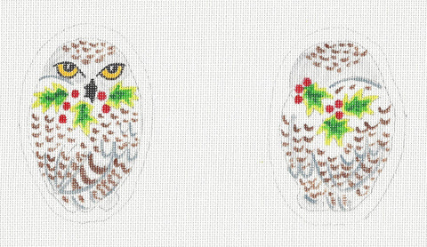 2 Sided Snowy Owl Ornament or Scissor Case handpainted Needlepoint Canvas~ by Susan Roberts