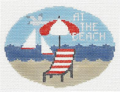 Oval~At The Beach handpainted Needlepoint Canvas~by Kathy Schenkel