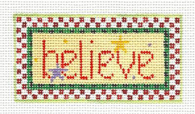 Canvas~Believe HP Needlepoint Canvas Ornament by Kathy Schenkel