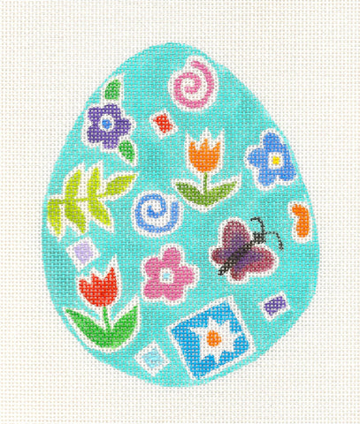 Easter~ Egg in Teal with Florals handpainted Needlepoint Canvas~by Barbara Fox