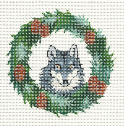 "Round~4"" Woodland Wreath with Wolf handpainted Needlepoint Canvas~by Barbara Fox"