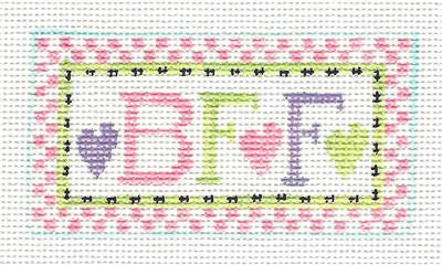 Canvas~B F F ~ Best Friends HP Needlepoint Canvas Ornament by Kathy Schenkel