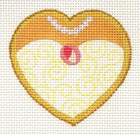 Heart~Wedding-Bride Heart Cookie on 13 mesh handpainted Needlepoint Canvas by Raymond Crawford