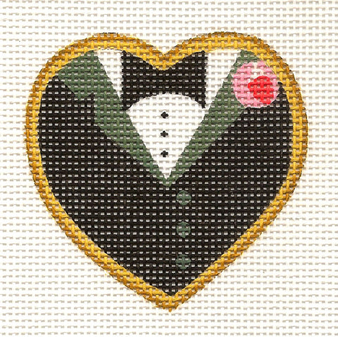 Heart~Wedding-Groom Heart Cookie Canvas by Raymond Crawford