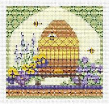 Kelly Clark Canvas – Springtime Bee Skep & Stitch Guide handpainted Needlepoint Canvas
