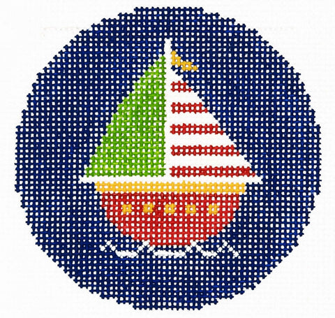 "Round~LEE Sailboat handpainted Needlepoint Canvas 3"" Rd. Insert"