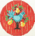 "Round~""1st"" Day of Christmas a Partridge in a Pear Tree handpainted Needlepoint Canvas"