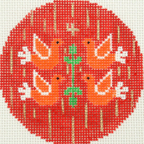 "Round~""4th"" Day of Christmas Four Calling Birds handpainted Needlepoint Canvas"