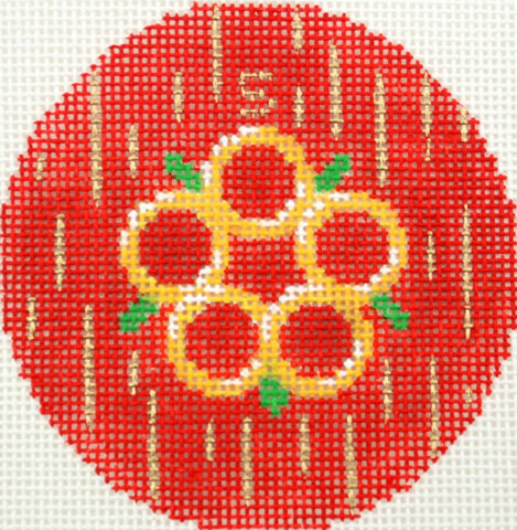 "12 Days of Christmas ~ 5th Day of Christmas Five Gold Rings handpainted 3"" Rd. Needlepoint Canvas by LEE"