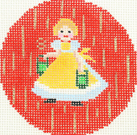 "12 Days of Christmas ~ 8th Day of Christmas Eight Maids A-Milking handpainted 3"" Rd. Needlepoint Canvas by LEE"