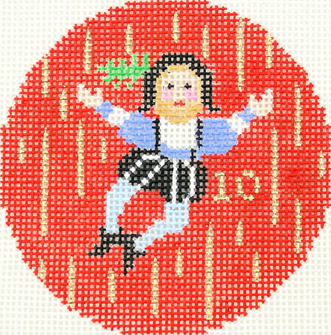 "Round~""10th"" Day of Christmas Ten Lords A-Leaping handpainted Needlepoint Canvas"