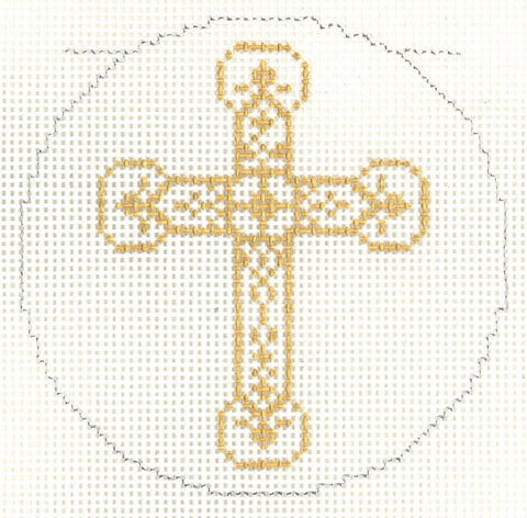 "Cross~Elegant Gold Ornate CROSS handpainted Needlepoint Canvas 3"" Rd. Ornament by LEE"